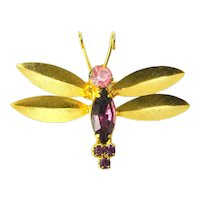 Vintage Purple Lavender Rhinestone Insect Bug Butterfly Figural Brooch