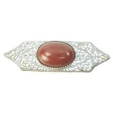 Vintage Sterling Silver Lace Filigree Carnelian Cabochon Brooch