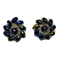 Vintage Western Germany Cluster Carnival Glass Clip Earrings