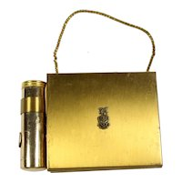 Vintage Brushed Brass Wristlet Compact Lipstick Purse