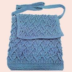 Vintage 1970's Wedgewood Blue Crochet Over the Shoulder Purse