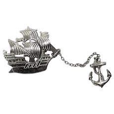 Vintage 1930's Sailing Ship Anchor Chatelaine Pins Brooch