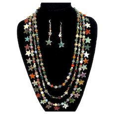 Vintage Gemstone Agate Star Beads 3 strand Necklace Earrings Demi Parure