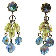 Vintage AB Crystal Bead Aqua Blue & Jonquil Yellow CHANDELIER Earrings