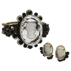 Vintage Juliana Book Piece 10 Petal Daisy Black Rhinestone Intaglio Cameo Clamper Bracelet Earrings Demi Parure