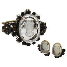 Vintage Juliana Book Piece 10 Petal Daisy Black Rhinestone Intaglio Cameo Clamper Bracelet Earrings Demi Parure