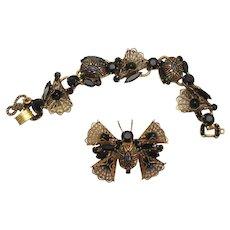 Vintage Juliana Black Painted Mosaic Rhinestone Cabochon Filigree Butterfly Brooch and Bracelet Demi Parure
