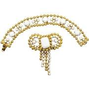 Vintage Juliana Book Piece Ball Chain White Milk Glass Rhinestone Bracelet Bow Brooch Demi Parure