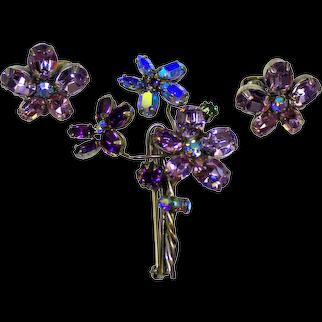 Vintage SCHREINER Lavender Purple AB Rhinestone Flower Bouquet Brooch Earrings Demi Parure