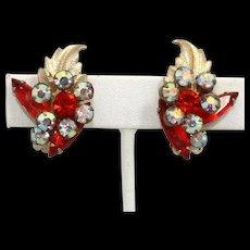 Vintage Juliana Book Piece Orange AB Rhinestone Flower Metal Leaf Earrings