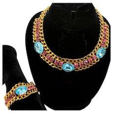 Vintage Juliana for Alexis Kirk Aqua and Fuchsia Rhinestone and Link Chain Necklace Bracelet Demi Parure