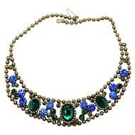 Vintage Juliana Blue Green Cabochon Rhinestone Ball Chain Bib Necklace