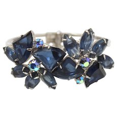 Vintage Juliana Blue Pie Shaped Rhinestone Clamper Bracelet