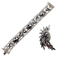 Vintage Juliana (D and E) Pointed Front Hematite Rhinestone Bracelet and Brooch Demi Parure