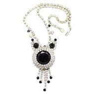 Vintage Juliana (D&E) Book Piece Black Dentelle & Clear Rhinestone Necklace