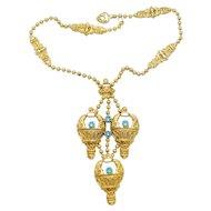 Vintage Juliana for KJL Book Piece Aqua Blue Rhinestone Hot Air Balloon Ball Chain Necklace