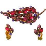 Vintage Juliana (D and E) Fuchsia Pink and Purple Rhinestone Brooch and Earrings Demi Parure