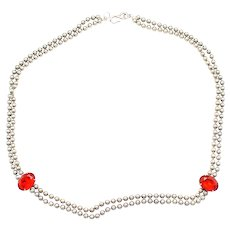 Vintage Juliana Ball Chain Red Oval Rhinestone Necklace