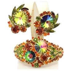 "Vintage Juliana Book Piece Orange Topaz Rhinestone Watermelon Margarita Rivoli ""Everything"" Clamper Bracelet Earrings Demi Parure"