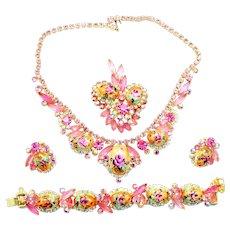 Vintage Juliana Book Piece Pink Rhinestone Rose Limoge Necklace, Bracelet, Brooch and Earrings Grand Parure