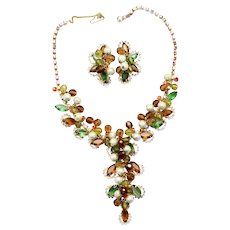 """Vintage Juliana (D and E) """"Mardi Gras"""" Topaz, Olivine Green, and Orange Rhinestone and Crystal and Metal Bead Demi Parure Necklace and Earrings"""