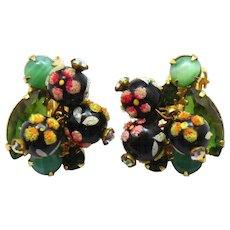 Vintage Juliana Book Piece Jade Green Rhinestone Polka Dot Bead Earrings