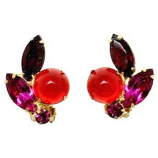 Vintage Juliana Red Cabochon Fuchsia Pink and Red Rhinestone Earrings
