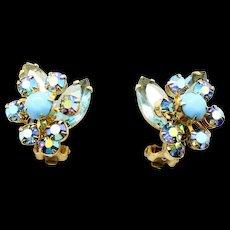 Vintage Juliana Aqua Blue Rhinestone Turquoise Glass Cabochon Flower Earrings