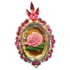 Vintage Juliana Pink Intaglio Rose Cameo Rhinestone Pendant Brooch