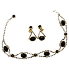 Vintage Juliana Book Piece Black Cabochon and Clear Rhinestone Necklace and Earrings Demi Parure