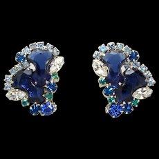 Vintage Juliana Blue Anchor Stone Teal Rhinestone Earrings