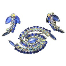 Vintage Juliana Blue and AB Rhinestone Swirling Spiral Brooch Earrings Demi Parure