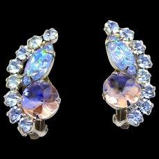 Vintage Juliana Blue Pink Fantasy Glass Carved Rhinestone Earrings