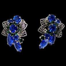 Vintage Juliana Blue and Green Rhinestone and Metal Filigree Leaf Earrings