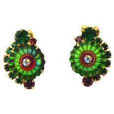 Vintage Juliana Book Piece Green Purple Rhinestone Watermelon Margarita Earrings