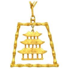 Vintage Juliana Book Piece Asian Bamboo Pagoda pendant Necklace