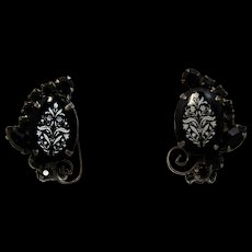 Vintage Juliana Book Piece Black with White Floral Transfer Rhinestone S Scroll Earrings