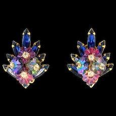 Vintage Juliana Book Piece Blue Rhinestone Margarita Flower Earrings