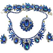 Vintage Juliana Book Piece Bermuda Blue Watermelon Heliotrope Rhinestone Grand Parure Necklace, Bracelet Brooch and Earrings