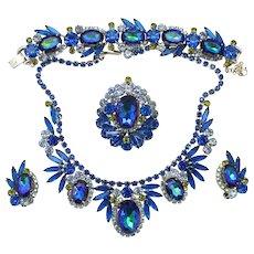 Vintage Juliana Book Piece Bermuda Blue Watermelon Heliotrope Rhinestone Grand Parure Necklace, Bracelet Brooch and Earrings