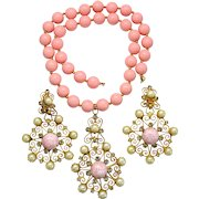 Vintage Juliana Book Piece Pink Cabochon and Bead Heart Scroll Pendant Necklace Earrings Demi Parure