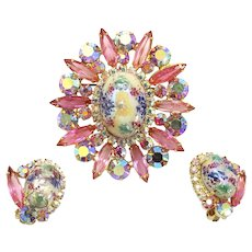 Vintage Juliana Book Piece Pink Rhinestone Stippled Cabochon Easter Egg Brooch Earrings Demi Parure