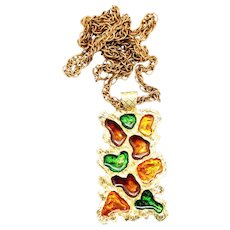 Vintage Juliana NEW FIND Brown, Amber, Green Stained Glass Style Epoxy Pendant Necklace