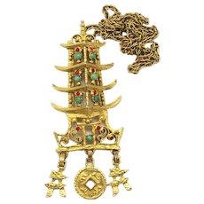 Vintage Juliana Book Piece Faux Coral Jade Cabochon Rhinestone Asian Pagoda Pendant Necklace