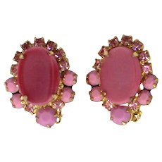 Vintage Juliana Pink Rhinestone Earrings