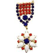 Vintage Juliana Patriotic Military Medal Style Rhinestone Brooch