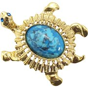 Vintage Juliana Book Piece Faux Turquoise Cabochon Blue Rhinestone Turtle Brooch
