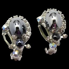 Vintage Juliana High Domed Mirror Hematite Rhinestone Earrings