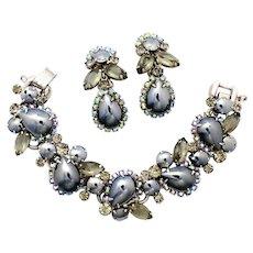 Vintage Juliana High Domed Pear Mirror Hematite Rhinestone Bracelet Dangle Earrings Demi Parure