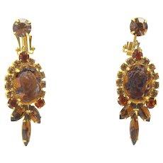 Vintage Juliana Topaz Cameo Rhinestone Dangle Earrings